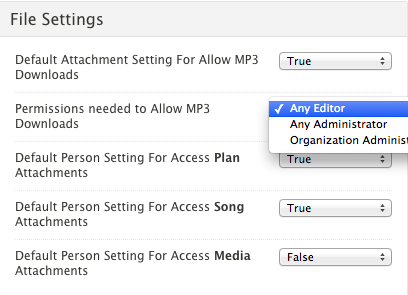 MP3 Download Permission Settings