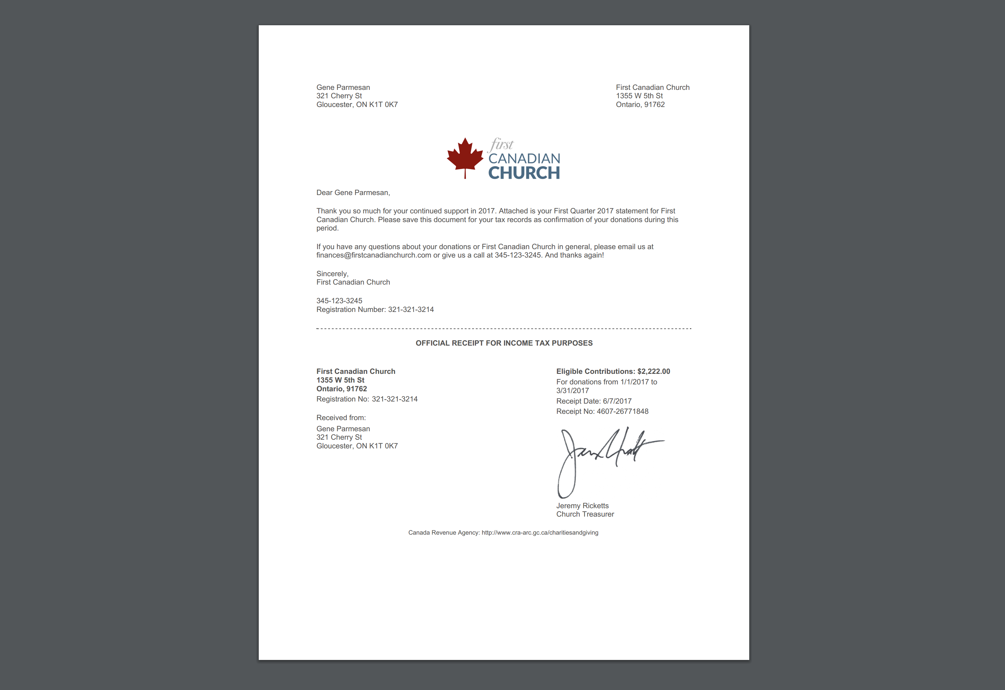 Canadian Donor Statement Sample