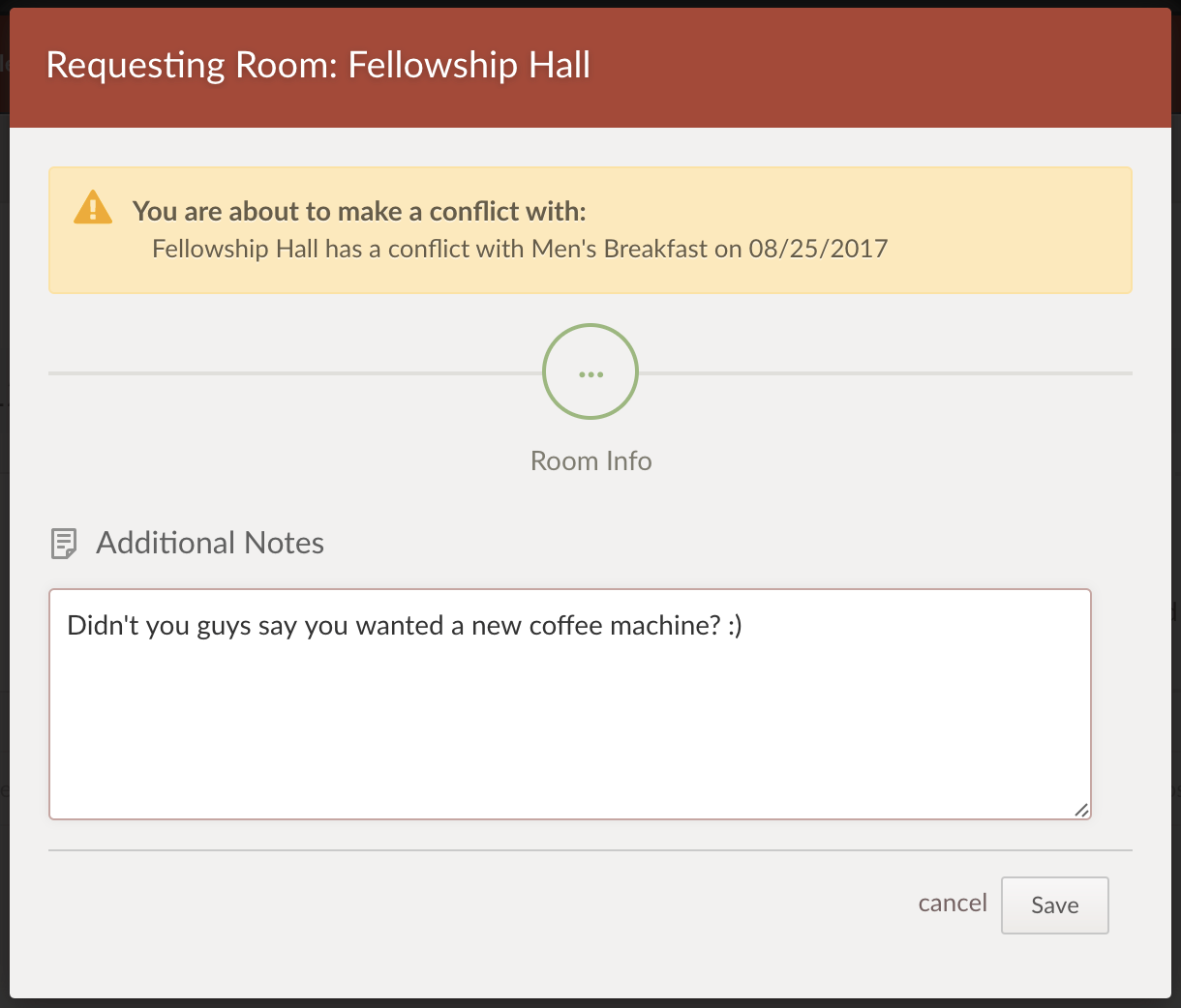 Room Request Conflict