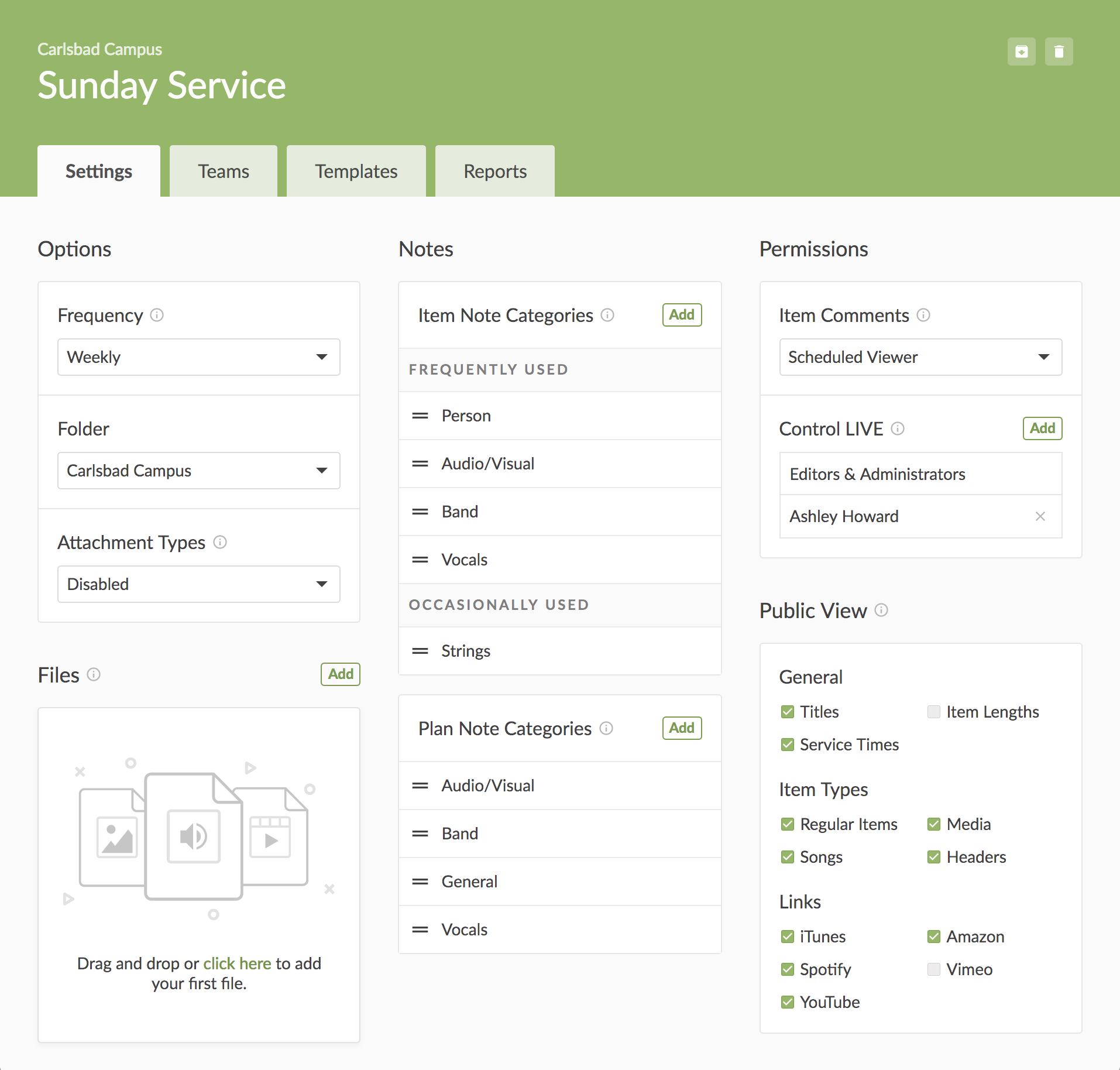 Service Type page