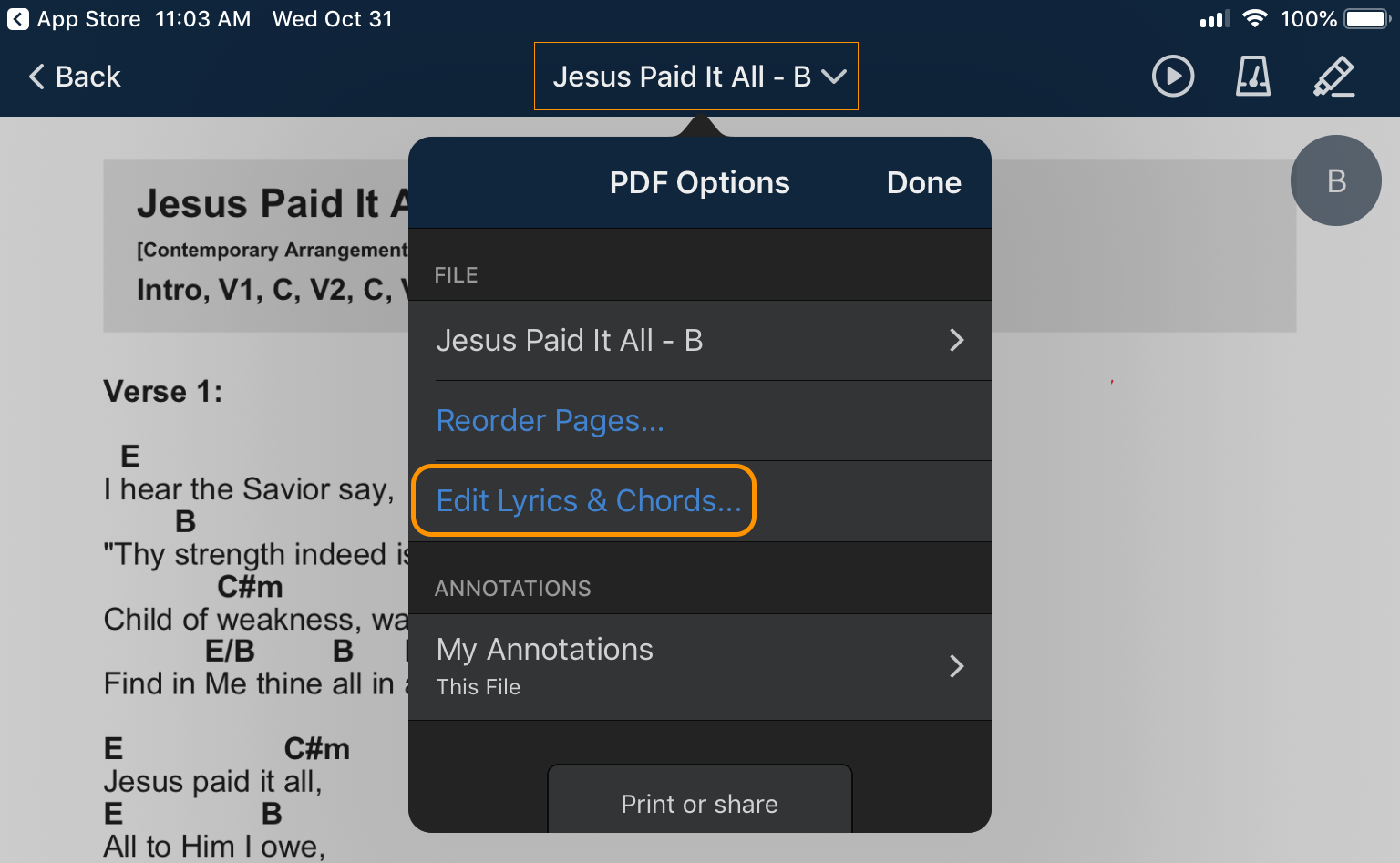 Edit Chord Charts with Music Stand 4 2 | Planning Center