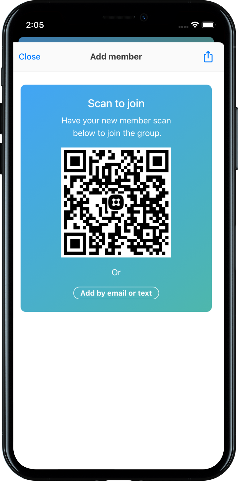 QR Code example on mobile device in Church Center App