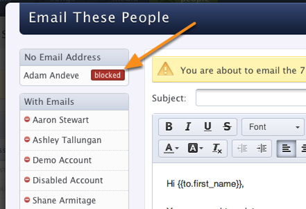 Emailing Blocked People