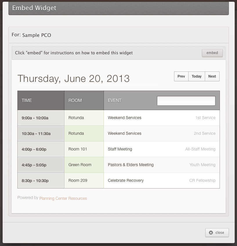 Embeddable Event List
